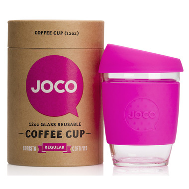 JOCO Glass Reusable Coffee Cup in Pink