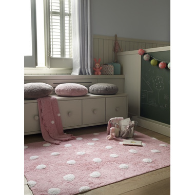 Lorena Canals Washable Rug Topos Pink Polka Dot