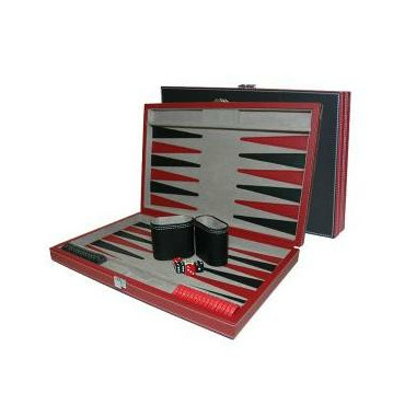 Backgammon Set - Black & Red Leatherette