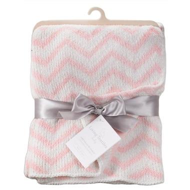Living Textiles Chenille Blanket Pink Chevron