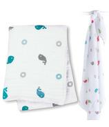 Lulujo Baby Muslin Cotton Swaddling Blanket Whales