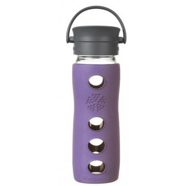 Lifefactory Glass Mug with Cafe Cap and Violet Insulating Sleeve