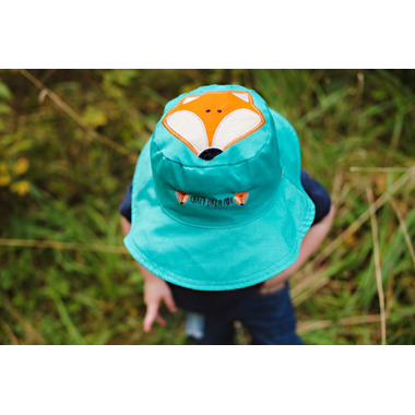 Flapjack Kids Reversible Sun Hat Raccoon & Fox