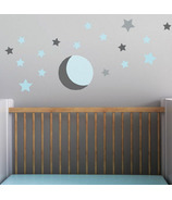 Trendy Peas Wall Decals Moonlight Stars Grey & Aqua