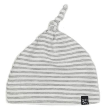 Vonbon Knotted Hat Grey Stripe