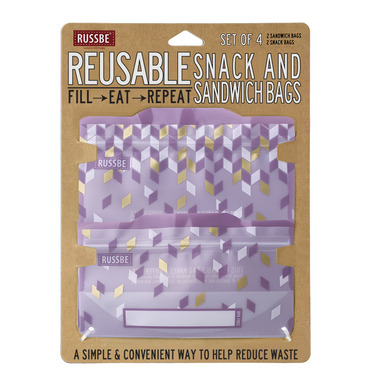 Russbe Reusable Snack/Sandwich Bags Metallic Confetti