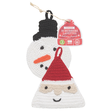 Now Designs Snowman & St Nick Tawashi Scrubbers