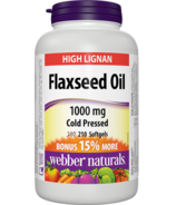 Webber Naturals Flaxseed Oil, Certified Organic, Cold Pressed, 1000 mg