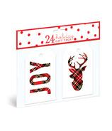 Graphique de France Plaid Joy Reindeer Gift Tags