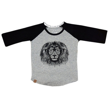 L&P Apparel Baseball Style Shirt Grey & Black Lion