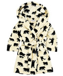 Hatley Kids Fuzzy Robe Black Bear On Natural