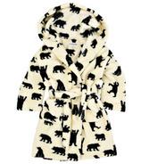 Hatley Kids Fuzzy Robe Black Bear On Natural