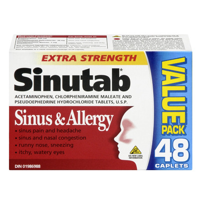 Buy Sinutab Sinus Amp Allergy Extra Strength 48 Caplets Online In Canada Free Ship 29