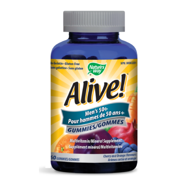 Nature\'s Way Alive! Mens\'s 50+ Gummies MultiVitamin & Mineral Supplement