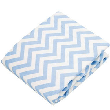 Kushies Flannel Fitted Crib Sheet Chevron Blue