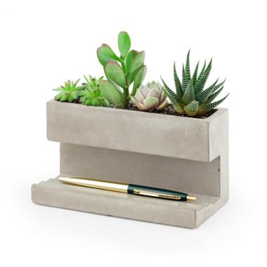 Kikkerland Concrete Planter & Pen Holder