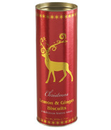 Farmhouse Biscuits Red Metallic Reindeer Tube With Lemon & Ginger Biscuits