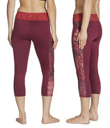 Gaiam Luxe Yoga Capri Print Bright Wine Patchwork