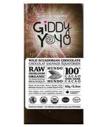 Giddy Yoyo Organic Raw Hundo 100% Dark Chocolate Bar
