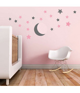 Trendy Peas Wall Decals Moonlight Stars Grey & Pink