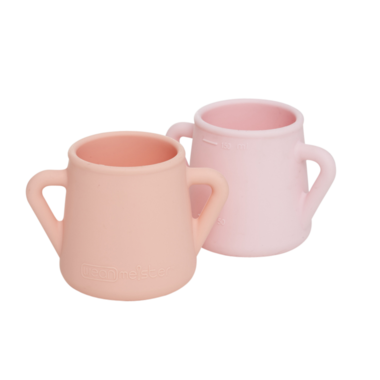 Wean Meister Sippy Skillz Peach and Baby Pink