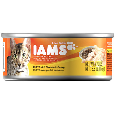 Iams Cat Food Filets with Chicken in Gravy