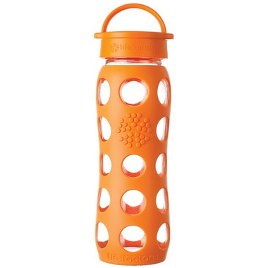 Lifefactory Glass Bottle Orange Classic Cap & Silicone Sleeve