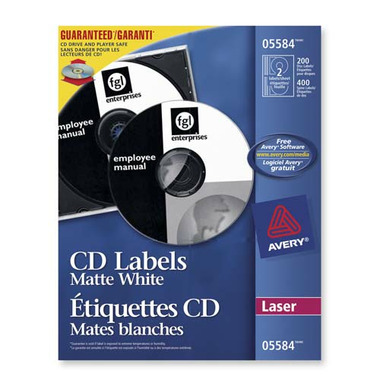 Avery CD/DVD White Laser Labels