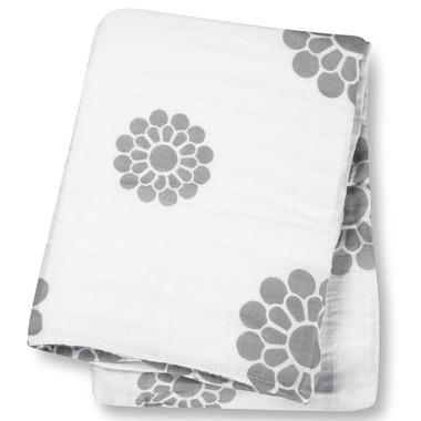 Lulujo Baby Muslin Cotton Swaddling Blanket Peonies
