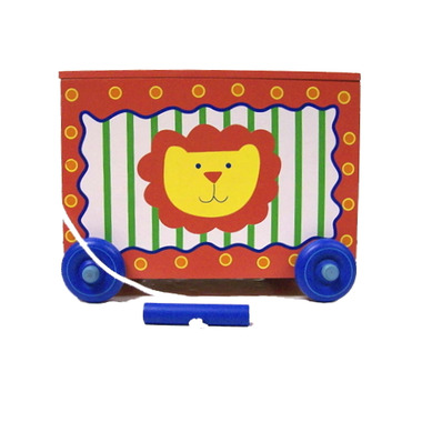 Silly Circus Wagon with Hinged Lid & Pull String