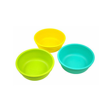 Re-Play Bowls Aqua, Lime Green and Sunny Yellow