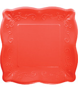 Elise Embossed Square Luncheon Plate Coral Red