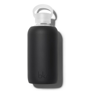 bkr Jet Glass Water Bottle Opaque Black