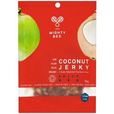 Mighty Bee Organic Vegan Coconut Jerky Spicy BBQ