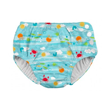 iPlay Snap Reusable Absorbent Swimsuit Diaper Light Aqua Sea Friends