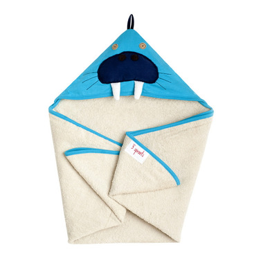 3 Sprouts Cotton Hooded Towel Blue Walrus