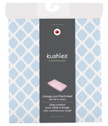 Kushies Flannel Change Pad Fitted Sheet Lattice Blue
