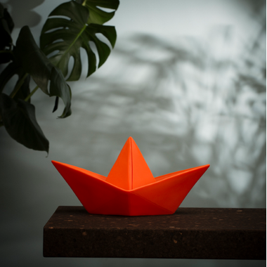 Goodnight Light Paper Boat Lamp Coral Red