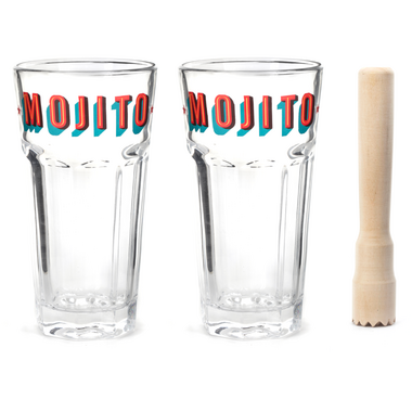 Kikkerland Mojito Glass Set & Muddler