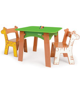 P'kolino Safari Adventure Tree Table With Giraffe & Zebra Chairs