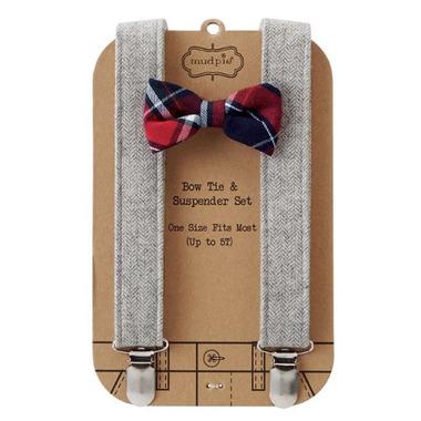 Mud Pie Plaid Bow Tie Suspender Set