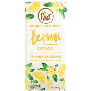 Theo Organic & Fair Trade Lemon Milk Chocolate Bar