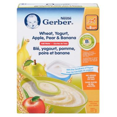 Gerber Baby Cereal - Wheat, Yogurt, Apple, Pear & Banana (Add Water)