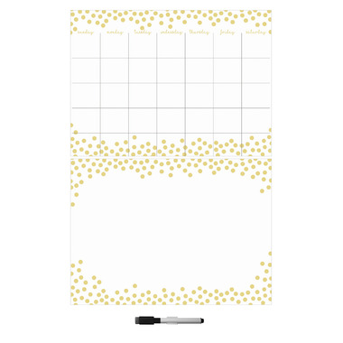WallPops Gold Confetti Dry Erase Monthly Calendar & Message Board