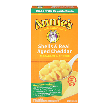 Annie\'s Homegrown Shells and Real Aged Cheddar