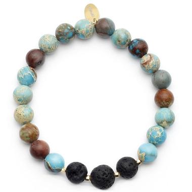 Oriwest Turquoise Jasper Lava Bead Bracelet