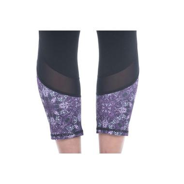 Gaiam Om Mesh Capri Black with Striking Purple Kaleido Print