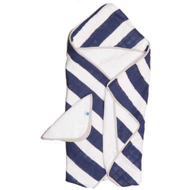 Little Unicorn Cotton Hooded Towel & Wash Cloth Set Navy Stripe