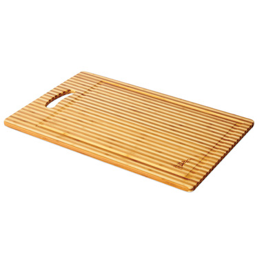 Island Bamboo Honey Stripe Cutting Board with Handle and Gravy Groove