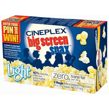 Cineplex Big Screen Snax Light Microwave Popcorn
